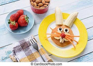 красочный, пасха, завтрак, для, kids., пасха, кролик, питание, изобразительное искусство