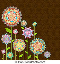 красочный, ретро, цветок