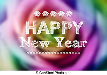красочный, роза, год, новый, сообщение, счастливый