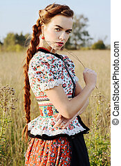 крестьянский, женщина, молодой