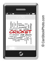 крикет, слово, облако, концепция, на, сенсорный экран, телефон