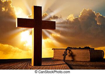 кристиан, дерево, пересекать, на, закат солнца, небо