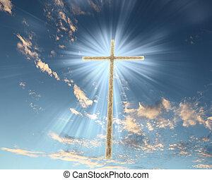 кристиан, пересекать, против, , небо