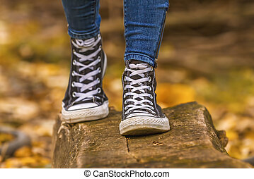 кроссовки, девушка, черный, wears