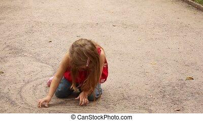 кружиться, в то время как, очередь, песок, девушка, playing