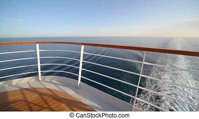 круиз, вверх, ограда, корабль, палуба