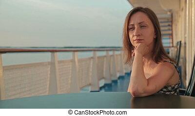 круиз, сидящий, женщина, корабль, палуба