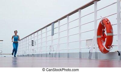 круиз, runs, женщина, корабль, палуба