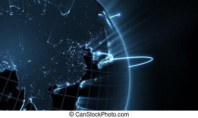 крупный план, глобальный, -, бизнес, петля