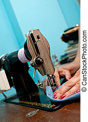 крупный план, старый, шитье, металл, машина, руки