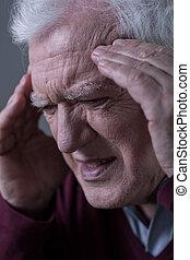 крупный план, of, головная боль