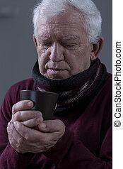 крупный план, of, питьевой, чай