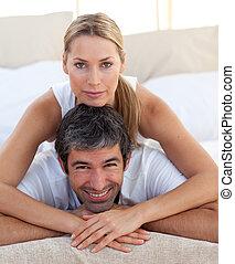 крупный план, of, , романтический, пара