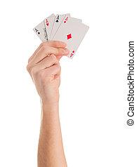 крупный план, of, рука, держа, 4, aces