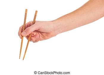 крупный план, of, рука, держа, chopsticks
