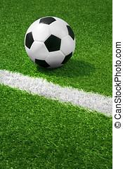 крупный план, of, футбольный, мяч, на, поле