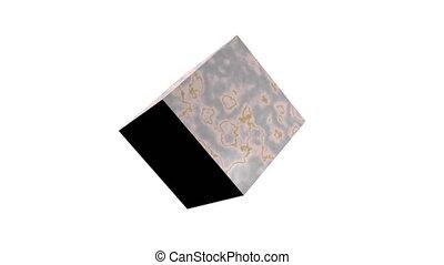 куб, шероховатый, textured, background., просто, вращающийся, белый, над