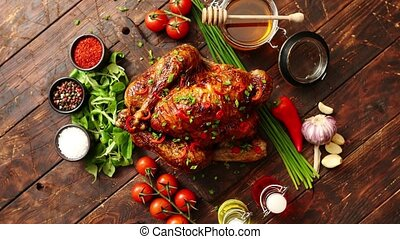 курица, турция, все, served, перец чили, pepers, или,...