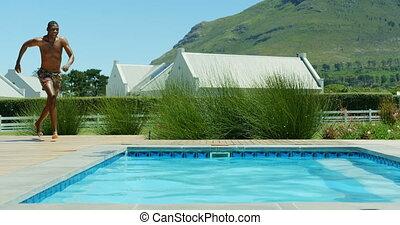 курорт, прыжки, 4k, черный, бассейн, плавание, человек, молодой
