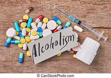 куча, of, pills, шприц, контейнер, message.