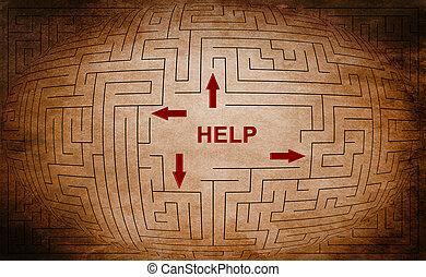 лабиринт, концепция, помогите