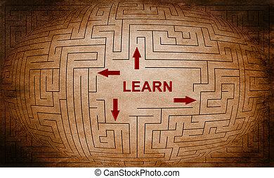 лабиринт, концепция, учить