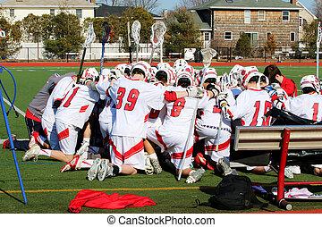 лакросс, до, игра, praying, команда