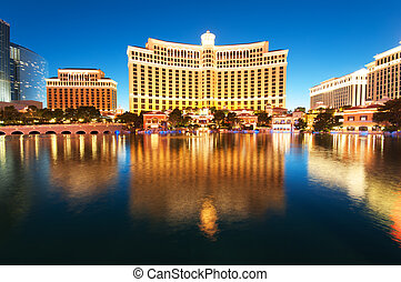 лас, vegas, -, 11, sep, 2010, -, bellagio, гостиница, казино, в течение, закат солнца
