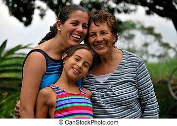 латиноамериканец, три, поколения, женщины