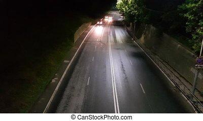 легковые автомобили, дорога, ночь