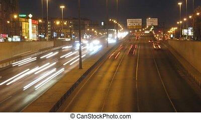 легковые автомобили, упущение, перемещение, время, ночь, дорога