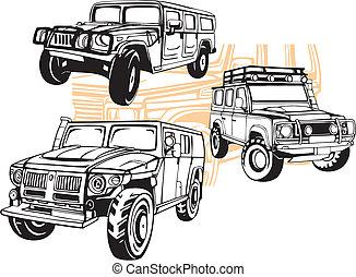 легковые автомобили, off-road, вектор, -, set.