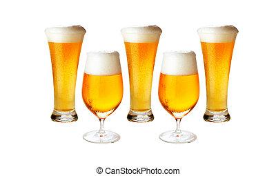 легкое пиво, другой, isolated-, пиво, отлично, холодно,...