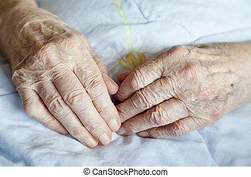 леди, пожилой, руки