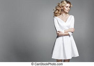 леди, цвет лица, бледный, деликатный, блондин