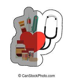 лекарственное средство, дизайн, медицинская, стетоскоп, забота
