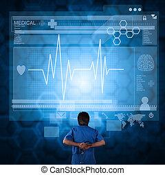 лекарственное средство, современное, компьютер, за работой, врач