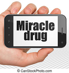 лекарственное средство, concept:, рука, держа, смартфон, with, чудо, лекарственный, на, дисплей