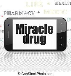 лекарственное средство, concept:, смартфон, with, чудо, лекарственный, на, дисплей