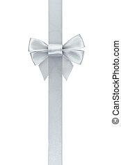 лента, серебряный, вертикальный, лук