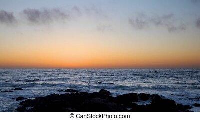 лесок, закат солнца, тихий океан, петля