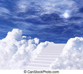 лестница, к, небо