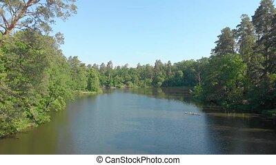 лес, антенна, озеро