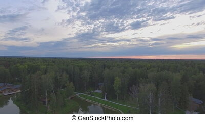 лес, закат солнца, над, антенна, кастрюля