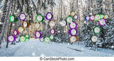 лес, зима, falling, снег
