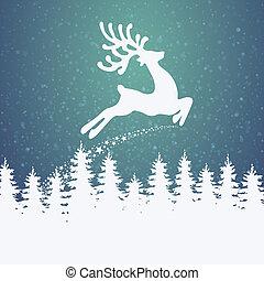 летать, северный олень, зима, задний план