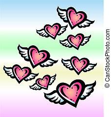 летающий, ангел, сердце, в, , небо