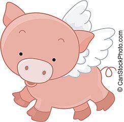 летающий, свинья