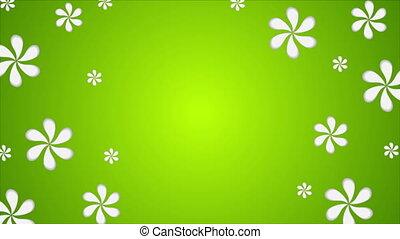 лето, абстрактные, анимация, зеленый, видео, цветы