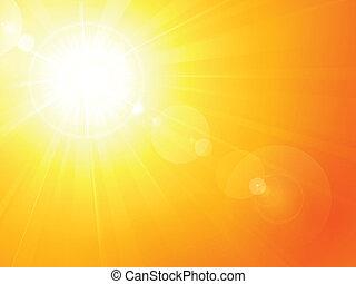 лето, вибрирующий, вспышка, объектив, горячий, солнце
